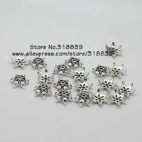 (100 pieces/lot) 13mm Antique Silver Plating Flower Bead Caps Fit Jewelry Making 7690