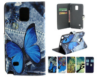 Fashion Prints Butterfly Police Box Be Free Birds PU Leather Wallet Case for Samsung Galaxy Note 4 Flip Cover Pouch Bag Stand