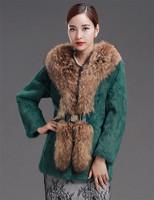 Factory 2014 New Style Women's Genuine Rabbit Fur Coat /Fur Clothing With Big Raccoon Fur Collar