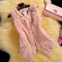 Factory 2014 New Korea Style Women's Real Rex Rabbit Fur Vest /Fur Gilet Retail And Wholesale