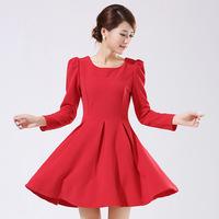 2014 autumn long-sleeve dress elegant plus size clothing one-piece dress solid color expansion