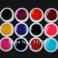 Hot New Sale 12 Colors Transparent UV GEL Nail Art Tips UV Builder Gel Set Free Shipping PA600249