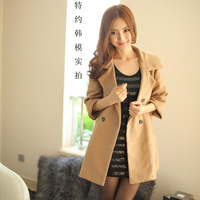 2014 autumn and winter large lapel double breasted woolen outerwear autumn and winter overcoat outerwear