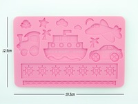 Free Shipping 1 pc Car Boat Flight Cloud Star Spaceship Moon Silicone Mold Cake Lace Mould Decorating Fondant Tool Sugarcraft