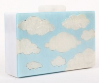 White clouds Clutch, PVC acrylic square bag, black and blue, party bag, clutch bag, high-grade hard-shell package