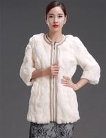 Factory 2014 New Style Women's Genuine Rex Rabbit Fur Coat /Fur Clothing O-Neck