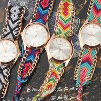 New 2014 Fashion Ladies Handmade Braided Bracelet Wristwatch Women Dress Watches Vintage Quartz Watch