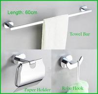 Promotion Chrome Finish Brass Bathroom Set Include Towel Bar Robe Hook Paper Holder