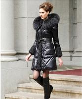2014 Luxury Brand Women Big Raccoon Fur Collar Hooded Slim Long Down Jacket XS-3XL Plus Size Lady Warm Parka Top Clothes Padded