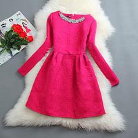S-XXL 2014 autumn elegant dress ladies small fragrant wind bottoming dress women's Slim waist was thin long-sleeved dress#XU099