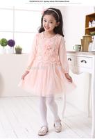 2015 Childrens Chiffon Dress Girls Long Sleeve TuTu Dresses Lace Flowers Princess Tiered Gauze Dress Free Shipping