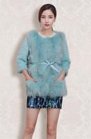 2014 New Style Women's Genuine Fox Fur Coat Splicing Rabbit Fur Sleeve