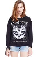 New Winter Popular High Quality Fashion Pullovers Hoodies Women Satan Cat Print Long Sleeve Casual Sweatshirt Free Shipping