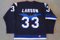 Movie Worn 1973 Mighty Ducks Hawks #33 Casey Garven Larson Jersey - Custom Your Any Name Number Stitched Sewn On XXS-6XL