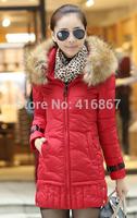 n jacket women's coat winter clothingNEW 2014 hot winter jacket women keep warm winter dow fashion long Fur collar clothes