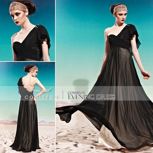 KingFox 56930 Ready To Order Evening China Shopping One Shoulder Sexy Black Long Dress(China (Mainland))