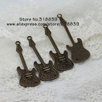 Wholesale (15 pieces/lot) 20*63mm Antique Bronze Metal Alloy Music Guitar Charms 7738