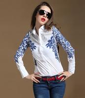 blusas femininas Ms. Autumn European style printed long-sleeved white blouse and blue and white shirt