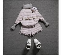 Korea fashion 201 women coat set winter  batwing-sleeved blouse belt sweater sleeves slim thicken down coat set  3 colors