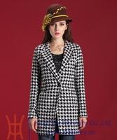 2014 Autumn Winter New Fashion Korean Plus Size Long Women Houndstooth Winter Coat Popular Wool Coat Trench Outwear