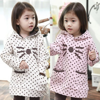 2014 autumn and winter polka dot girls clothing baby child with a hood sweatshirt outerwear lovely  child coats free shipping