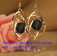 Charm crystal angel multi-circle earrings women's stud earring fashion