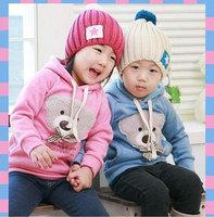Retail spring autumn bear design baby children sweatshirts hoodies boys girls fleece tops kids full sleeve sweat shirt