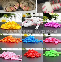 Lots 100pcs 14 Colors Soft Cat Pet Nail Caps Claw Control Paws off + 5pcs Adhesive Glue Size XS S M L Free Shipping