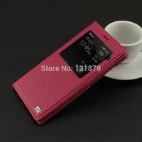 50pcs/lot Slim Intelligent Sleep Flip Leather Case For XiaoMi 3 MI3 Window Case For Xiao Mi 3 Mi 3 Free Shipping Hot Sale
