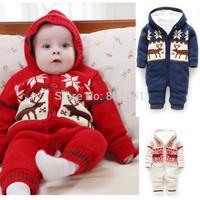 Christmas Baby Romper 2014 New Winter Soft Unisex Christmas Deer Thicken Hooded Warm Clothing Roupas De Bebe