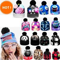 3D digital printed beanie pompon print winter Women knitted hat unisex different print fullprint GALAXY CAT bone beanies