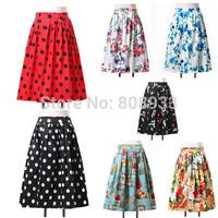 Fashion Women 50s 60s Vintage Skirt Floral Print Polka Dots Retro Skirt Swing Casual Summer Short Skirt Pleated Maxi DressCL6294
