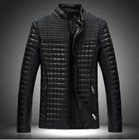 2014 Fashion Stand collar Motorcycle Leather clothing Men Leather jacket Canadian Fertilizer Men Winter Leather Jacket coat m20
