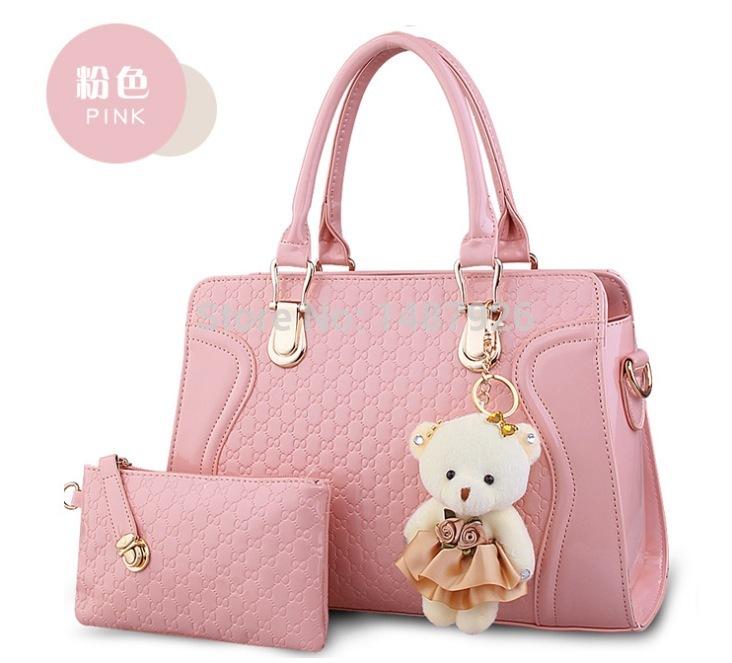 2014 Hot!!! Korea Style Women Messenger Bags Single-Shoulder Bag Fashion Handbags With Little Bear Decoration Free Shipping(China (Mainland))
