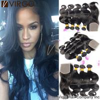 Brazilian Body Wave Hair Extension Brazilian Human Hair Weave Bundles 1Top Lace Closure With 3Bundles 4Pcs lot black friday sale