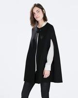 Free shipping  LOOKBOOK,Big Brand Trendy ladies Black Wool Cloak