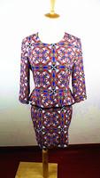 2014 Fashion Women's Autumn Palace Retro OL Style Leather Patchwork Kaleidoscope Colored Geometric Printed Dresses,Free Shipping