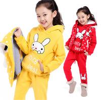 New arrival children Kids Clothing Warm thicken Red/ yellow Cartoon Rabbit Girl's Hoodie 3pcs Sets waistcoat / Hoodie / pants