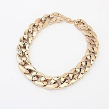 Accessories Jewelry 18K Gold Silver Plated CCB Choker Chunky Chain Statement Necklace For Women Gift 1822