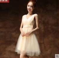 Fashion woman dress short paragraph champagne bridesmaid dresses