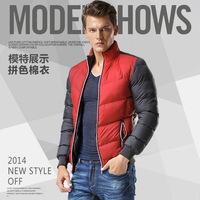 2014 winter new men Men fashion down jacket  Slim spell color cotton jacket collar jacket Korean   students loaded