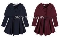 dropship sweety fashion  autumn winter children clothing girl long-sleeve coat Shawl windbreaker jacket set dress kid clothes