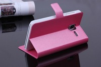 100pcs/lot New Luxury Silk Pattern Flip stand card wallet smart leather bag case skin cover For Lenovo A850+