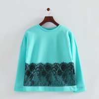 2014 new women polyester lace combined 2 solid color tops o-neck full sleeves loose sweatshirts 272802