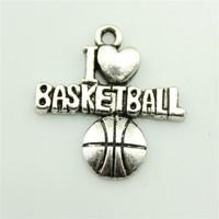 Wholesale 20pcs I love basketball slide charm silver metal pendant for jewelry making