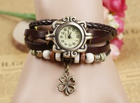 Antique Watches A Clover Pendant Female Leather Bracelet Watches