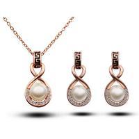 Wholesale 18k gold White Gold Plated pearl design rhinestone fashion Jewelry Sets 1345