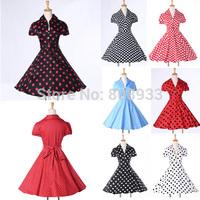 With Belt New 60s 50s Women Vintage Dress Sleeves Short Retro Polka Dots Swing Dress Rockabilly Pinup Summer Casual Dress CL6089