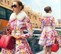 2015 Euro Fashion Women Winter Down Coat Floral Print Overcoat X-long White Duck Winter Jacket XXL Luxury White Fox Fur Parka