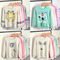 Flocking letters fleece inside sweatshirts big cartoon printed nice design winter women hoodies 5 colors